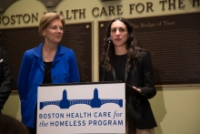 Senator Elizabeth Warren with Dr. Jennifer Brody at Boston Health Care for the Homeless Program announcing opioid legislation CARE Act